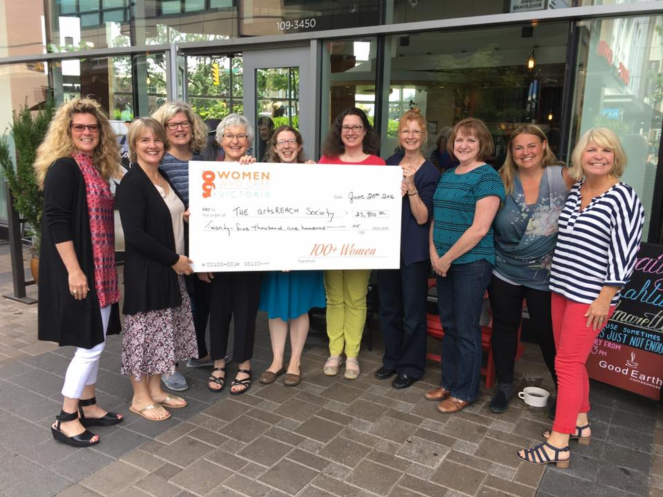 artsREACH staff receive a cheque for $25,900 from 100+ Women Who Care Victoria